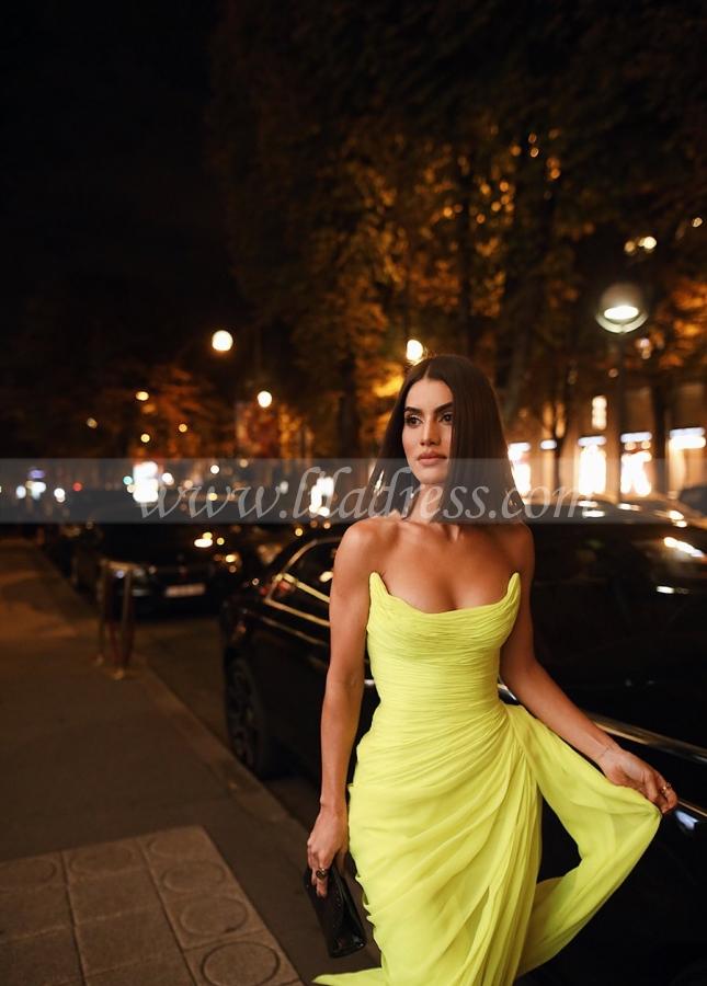 Long Chiffon Yellow Prom Dresses with Irregular Skirt