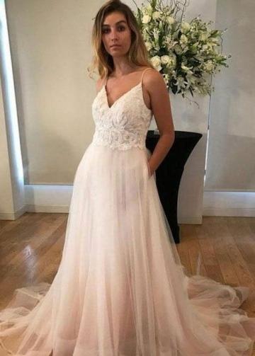 Lace Bodice V-neck Casual Wedding Dresses Tulle Skirt
