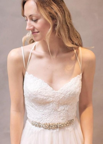 Lace Tulle Beach Casual Wedding Dress with Strappy Back Detail
