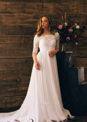 Lace Chiffon Backless Boho Wedding Gowns with Sleeves