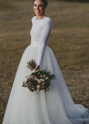 Long Sleeves Spandex T-shirt Wedding Dress with Separate Tulle Skirt