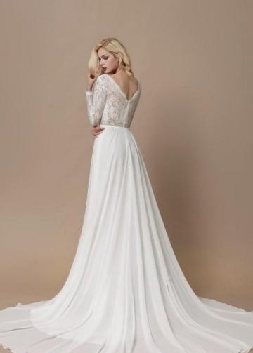 Lace Long Sleeves Boho Wedding Dress with Chiffon Skirt