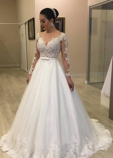 Long Sleeves Plus Size Wedding Gown with Sheer Lace Bodice