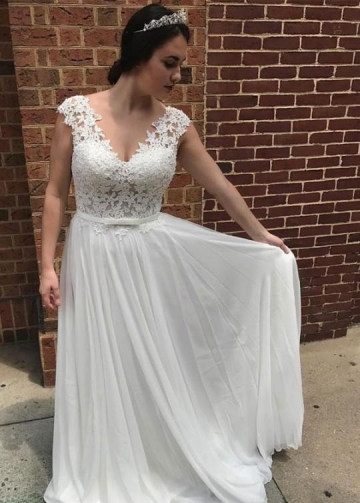 Lace and Chiffon Beach Wedding Dress with V-neckline