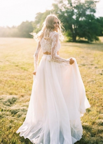 Lace Separates Two Piece Wedding Dress with Chiffon Skirt