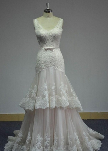 Lace V-neckline Wedding Dress with Two Layers Tulle Skirt