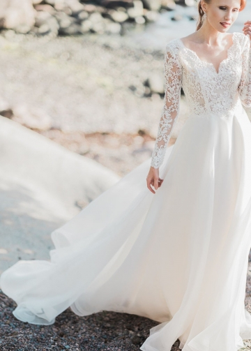 Lace Long Sleeve Wedding Gown with V Neckline