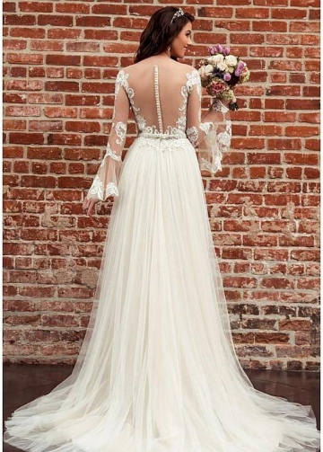 Long Lace Sleeves Bride Dresses with See-through Neckline