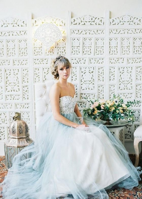 Lace Strapless Wedding Gown Dusty Blue Tulle Skirt
