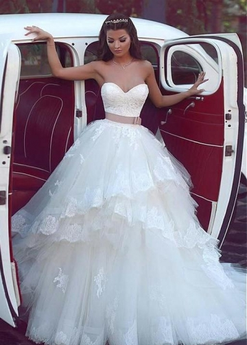 Lace Corset Wedding Dress for Bride Tulle Skirt vestido de novia