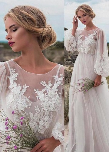 Lantern Sleeves Boho Bride Dress Lace Tulle Beach Weddings