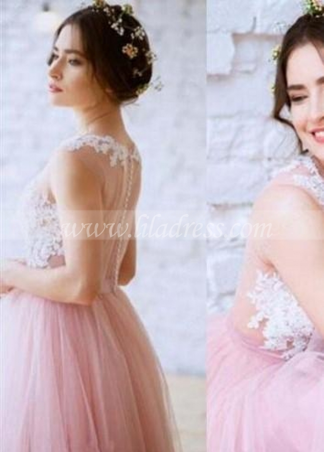 Lace Blush Pink Tulle Wedding Dress with Illusion Neckline