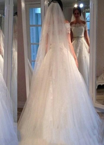 Lace Off-the-shoulder Wedding Gown with Rhinestones Belt