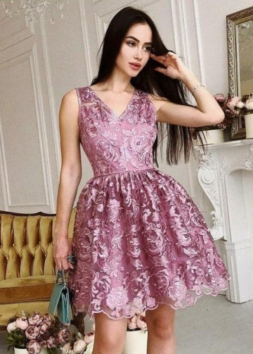 Mauve Lace Short Homecoming Dresses V-neckline vestido de fiesta