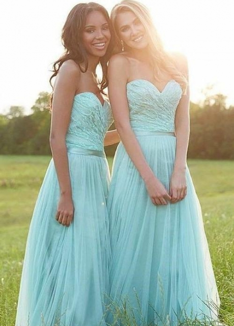 Mint Green Tulle Bridesmaid Lace Dress for Wedding Party
