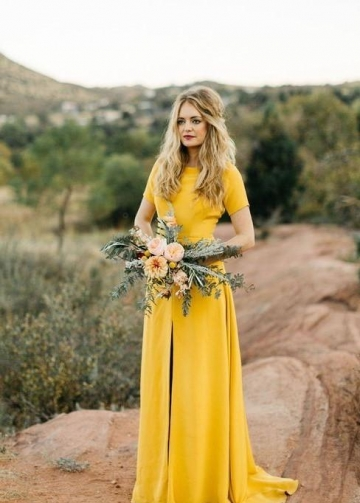 Mustard Bridesmaid Wedding Guest Dress with Short Sleeves