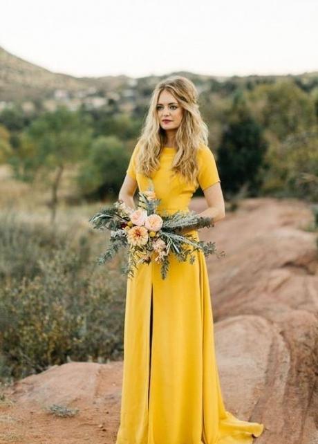 Mustard Bridesmaid Wedding Guest Dress with Short Sleeves