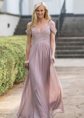 Mauve Chiffon Bridesmaid Dresses with Off-the-shoulder