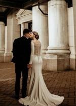 Mermaid Satin Long Sleeved Wedding Dress with Crystals Sheer Back