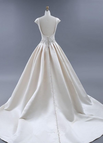 Modest Light Champagne Wedding Dresses Ball Gown with Beaded Sash