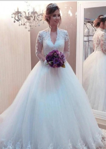 Modest Bridal Gown with See-through Long Sleeves Marriage Dress