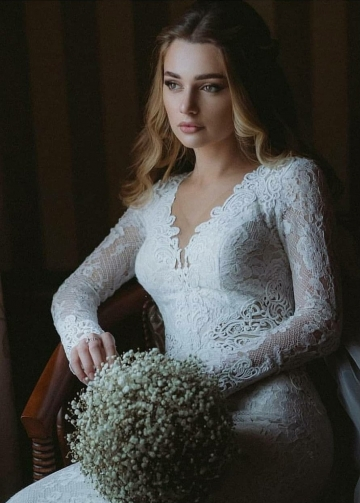 Mermaid Lace Wedding Dress with Detachable Tulle Train