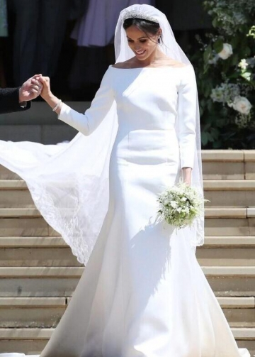 Meghan Markle Wedding Dress with 3/4 Sleeves White Dresses