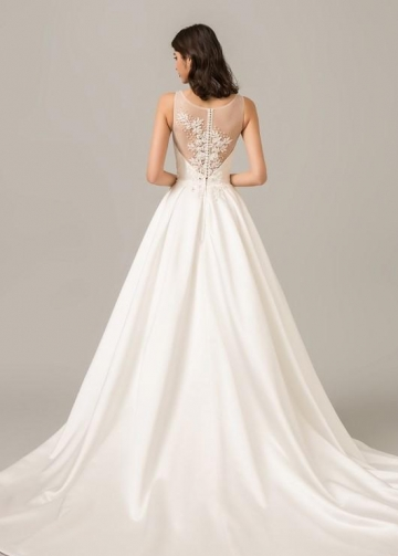 Modern Satin Ball Gown Wedding Dress with Illusion Beaded Back