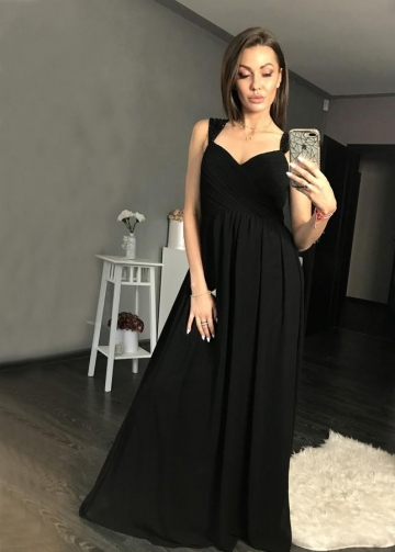 Maxi Long Black Chiffon Prom Gowns with Beaded Cap Sleeves