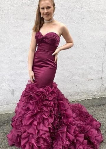 Mermaid Style Prom Dresses with Ruffles Organza Skirt