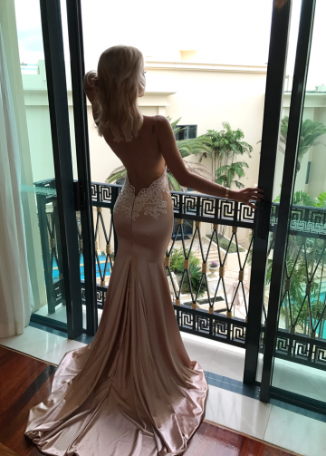Mermaid Prom Gown with Ivory Lace Champagne Elastic Satin Skirt