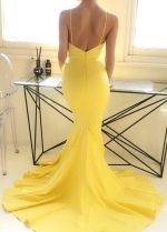 Mermaid Long Yellow Prom Gown Dress with Plunging Neckline
