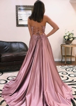 Maxi Long Mauve Prom Gown with Lace-up vestido de fiesta