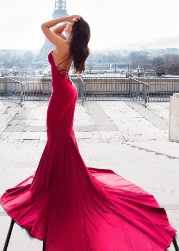 Mermaid Style Evening Dress with Lace-up Backless