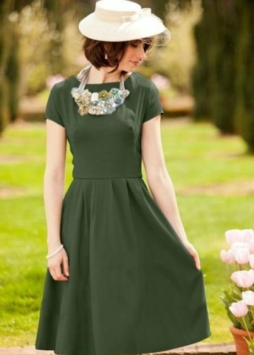 Modest Olive Green Bridesmaid Gown Short Sleeves