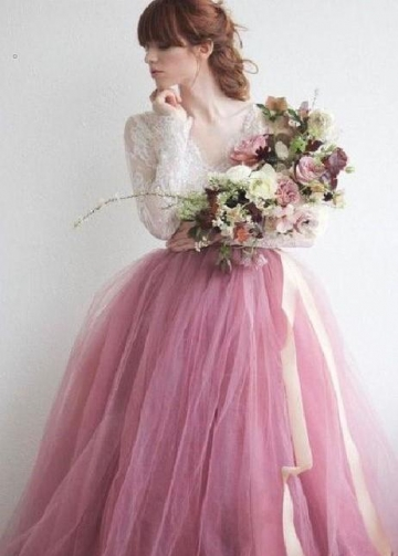 Mauve Colored Tulle Wedding Dress with Long Lace Sleeves