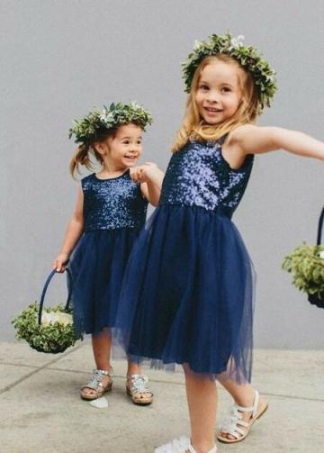 Navy Blue Sequin Tulle Children Flower Girl Dresses Knee Length