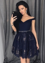 Navy Blue Lace Homecoming Party Dress Short Off-the-shoulder Neckline