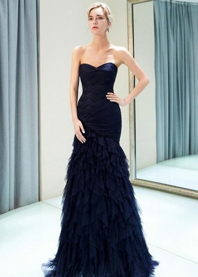 Navy Blue Tiered Evening Gown with Strapless Corset Back