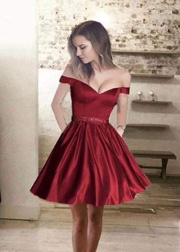 Off-the-shoulder Satin Burgundy Cocktail Party Dress with Beaded Belt