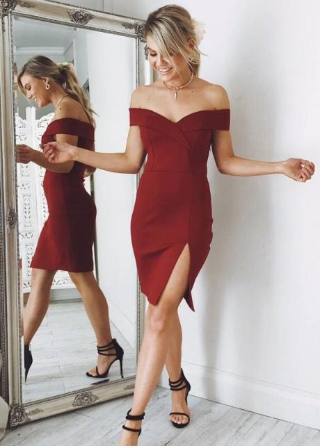 Off-the-shoulder Satin Cocktail Party Dress Vestido de coctail