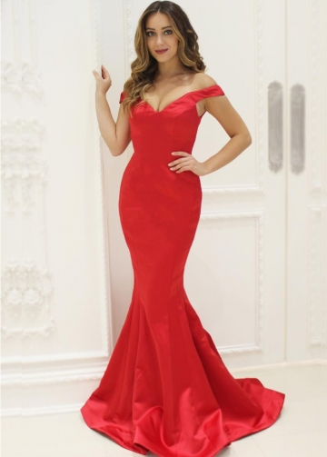 Off-the-shoulder Red Satin Evening Dresses Mermaid Style