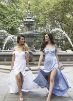 Off-the-shoulder Chiffon Long Bridesmaid Dress with Side Slit