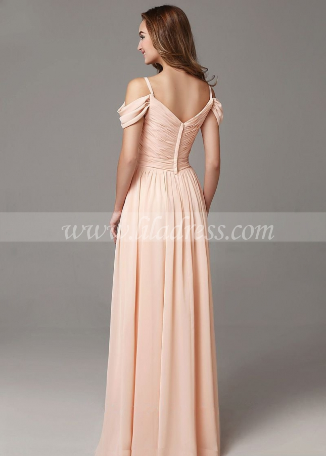 Off-the-shoulder Chiffon Long Wedding Guests Dress
