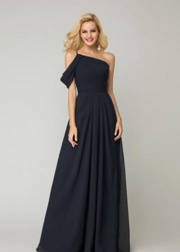 One-shoulder Dark Navy Bridesmaid Dress Chiffon Skirt