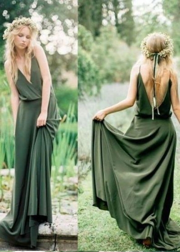 Olive Green Chiffon Bridesmaid Gown Dress Long