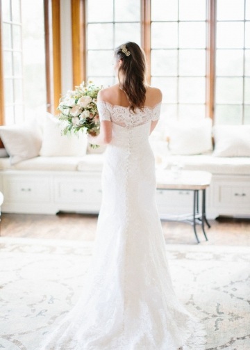 Off-the-shoulder Floral Lace Wedding Gown with Sweep Train
