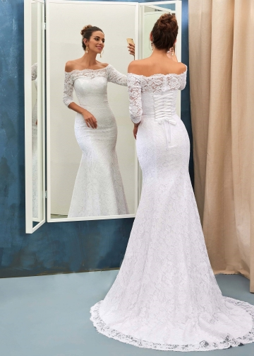 Off-the-shoulder Lace White Wedding Dress with Sleeves