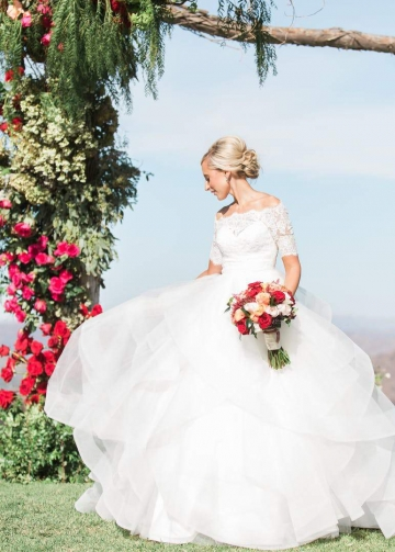 Off-the-shoulder Lace Ruffled Wedding Dress Ball Gown with Sleeves