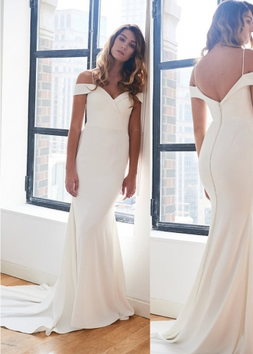 Off-the-shoulder Satin Simple Ivory Wedding Gown Vestido de novia